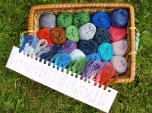 Acid dyes and sample card produced on a dyeing course