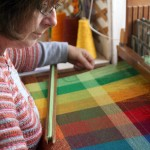 Colour gamp being made on a weaving course