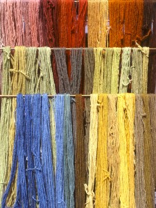 Natural colours madder weld and indigo produced on a dyeing course